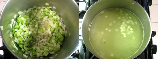Saute onions & celery over low heat until they turn soft. Stir in broth.