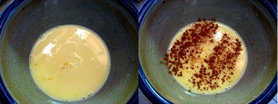Whisk eggs and milk together. Add a dash of cinnamon, 1 tsp. vanilla, and a pinch of salt and stir.