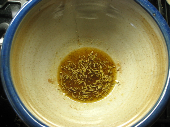 In a mixing bowl, combine the olive oil and spices.
